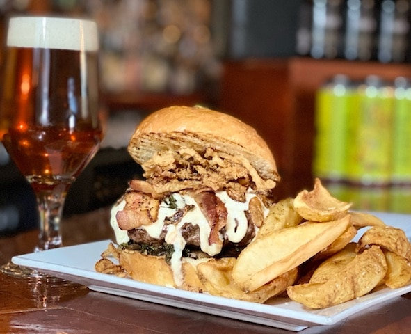 burger beer and fries